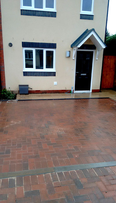 new driveway in block paved bricks